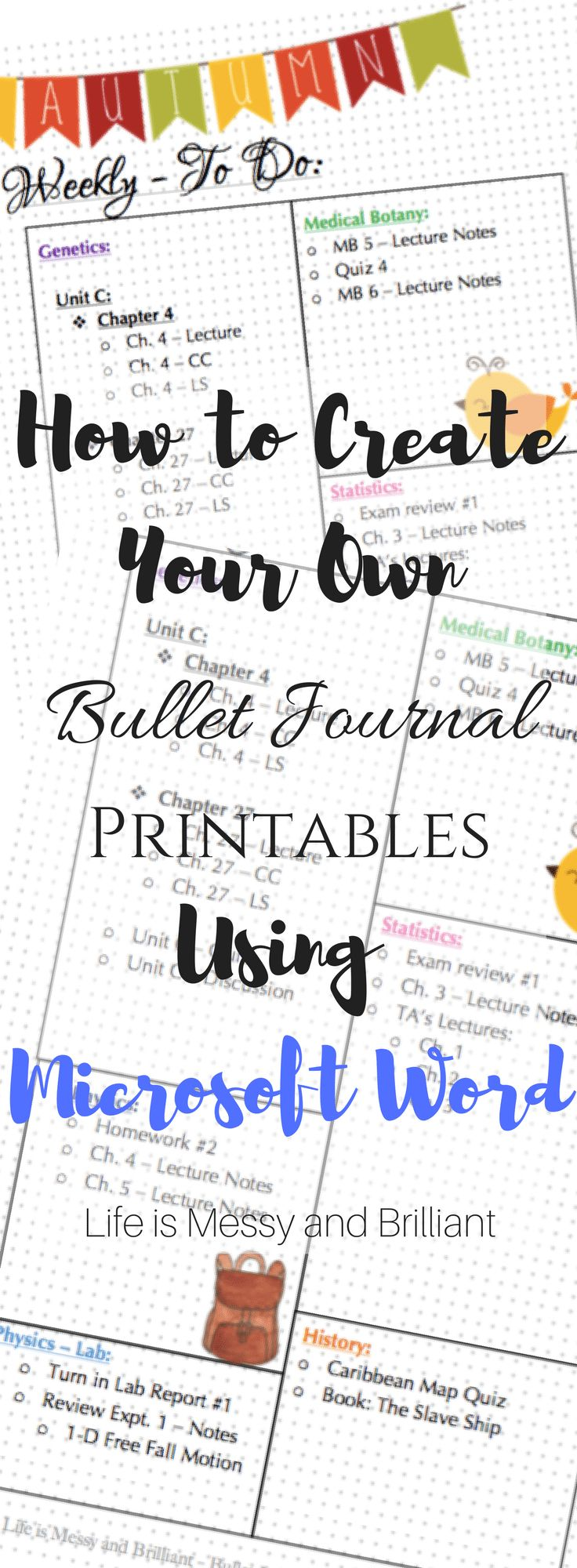 how to make your own  bullet journal printables