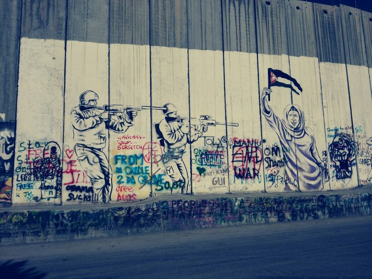 Walls in Palestine. Literally a prison for them. Bethlehem
