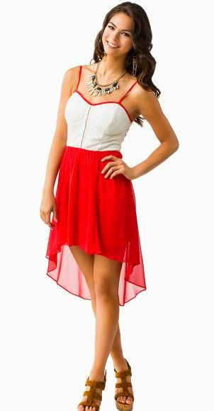 Red and Ivory High-Low Dress #highlowdress so pretty