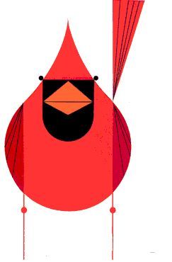 Charley Harper Cardinal - i love this man's style. beautiful! tags: art, nature, birds, wildlife, illustration