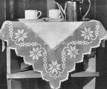 Dainty Garland Linen Tablecloth Vintage Filet Crochet Pattern for download