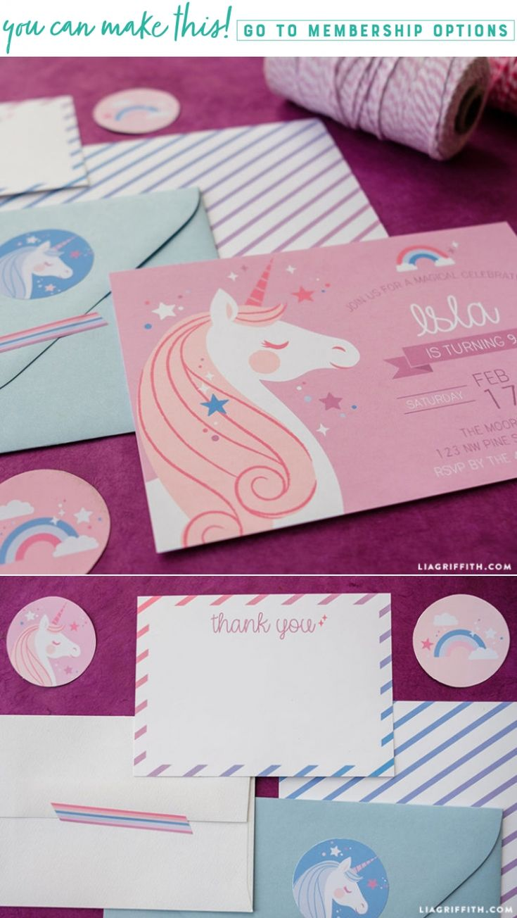 Celebrate with Magic ✨ Host your next magical celebration with these printable unicorn party invitations and thank you cards https://liagriffith.com/unicorn-party-invitations-thank-you-card * * * #magic #craftingmagic #enchantingcrafts #diymagic #unicorn #fantasy #birthdayparty #birthdayfun #thankyoucard #thankyoucards #celebrate #diyparty #stationary #printable #printables #cards #diykids #madewithlia