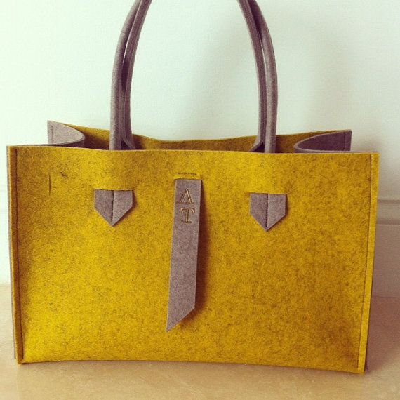 ArtAK FACE Bag. Wool felt tote bag. Made to order. by ArtAK, $150.00