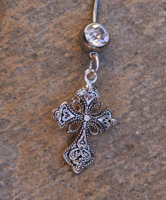 ornate fliligree blinging cross designer belly button ring