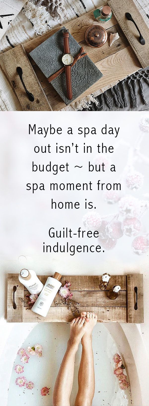 Love this idea. Turn your own bathroom into a spa for less than a couple hours out. Shut the door, turn on the water, grab your tub caddy and relax. #bath #homedecor #accessories #reclaimedwood #wood #luxury #budget #affiliate
