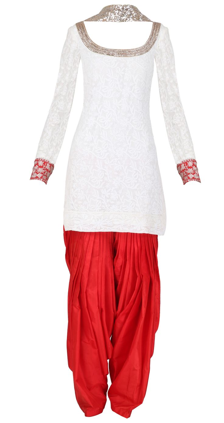 Ivory and red chikankari kurta set with embellished dupatta by MANISH MALHOTRA. Shop at https://www.perniaspopupshop.com/whats-new/manish-malhotra-3459