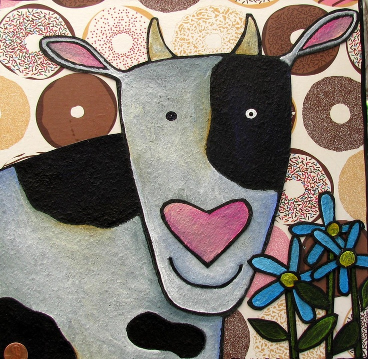 cow with flowers by pennydobson on Etsy | art lessons ...