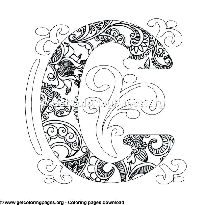 Zentangle Monogram Alphabet Letter C Coloring Sheet Coloring Pages Lettering Alphabet Monogram Alphabet
