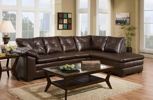 Delta Cowboy Brown Bonded Leather Sectional Sofa 4350-05-SO