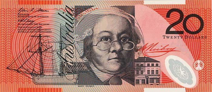 The front of the $20 banknote featuring Mary Reibey.