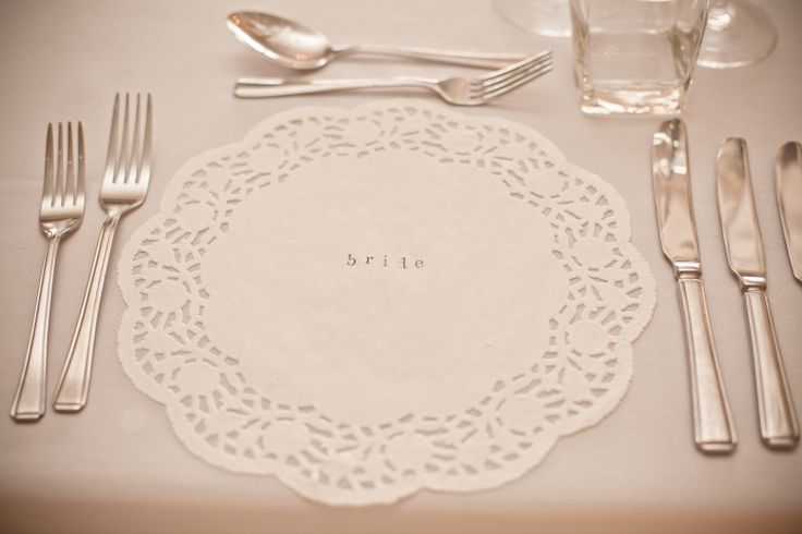 Hand stamped doileys as place settings