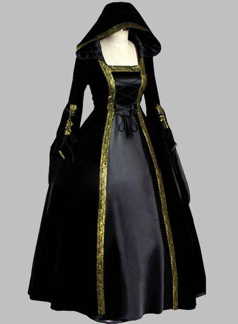 Preto gótico e guarnição do ouro histórico tribunal vestido traje da bruxa com capuz vestido de festa Cosplay vestido