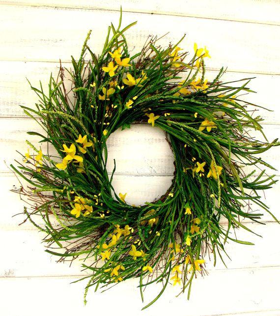 YELLOW COUNTRY CHIC Twig WreathSummer Door by WildRidgeDesign, $89.00