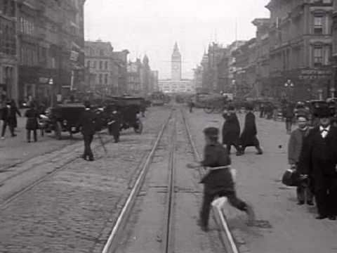 A Trip Down Market Street 1906 San Francisco    This film from 1906 in downtown San Francisco was made 4 days before the great earthquake destroyed the city at 5:12 AM on April 18th, 1906. It is filmed from the front of a cable car, heading east toward the ferry terminal building, which is the tower in the background (which survived the quake and still stands today). Filmed by the Miles Brothers, 14 April, 1906