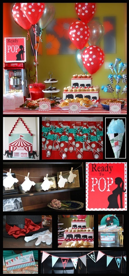 Circus Carnival Baby Shower #elephants #baby #banner #balloons #Ready #to #pop #favors #napkin #rings