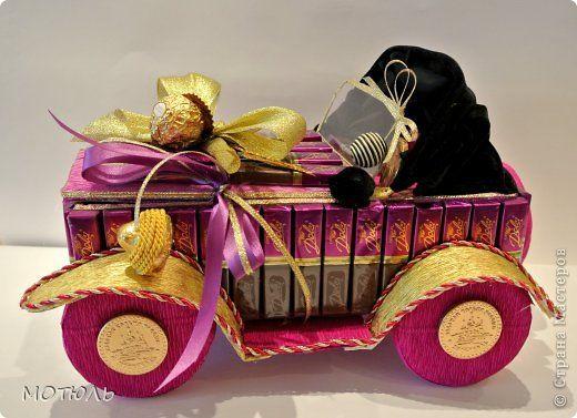 Мастер-класс Свит-дизайн День рождения Моделирование конструирование Машинка-карапуз из шоколада Бумага гофрированная фото 1