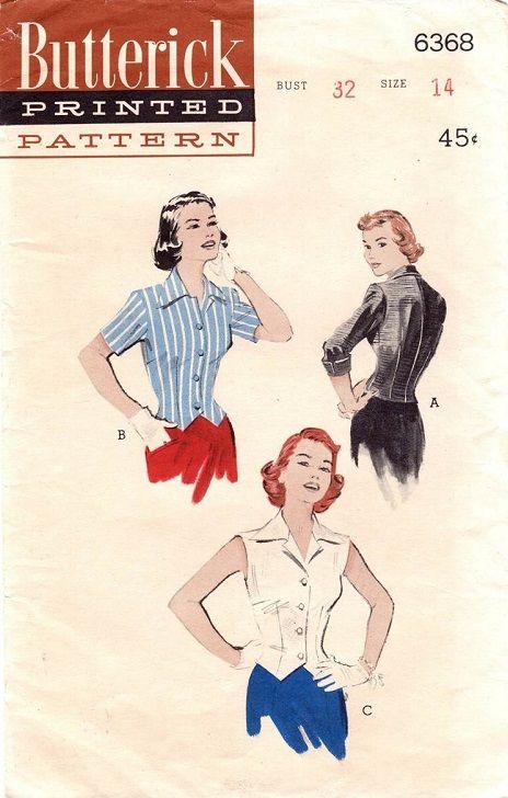 "Butterick 6368. 1950's Blouse. Bust 32"". Original. Complete."