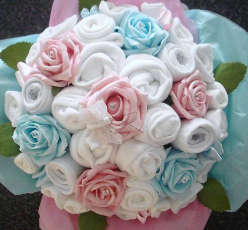 Hand-Made Luxury Baby Boy OR Girl Bouquet - Made with Real Baby Clothes - Baby Shower - Nappy Cakes. £25.00, via Etsy.