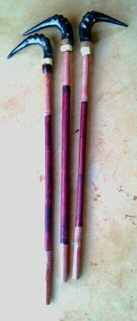 Walking Sticks; The three messengers,  (Blesbok horns mounted on Shiringa wood, Iron-wood and Rhodesian Teak.