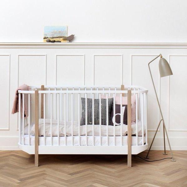 Oliver Furniture Babybett Wood Weiss/Eiche 70 x 140 cm