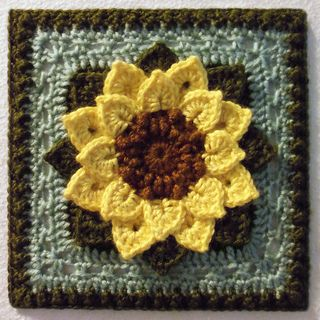 """Day 25: 6"""" Block Pick of the Day Crocodile Stitch Afghan Block - Dahlia by Joyce Lewis  Free Pattern: http://www.ravelry.com/patterns/library/crocodile-stitch-afghan-block---dahlia May 2013 #TheCrochetLounge #6""""Square #Pick"""
