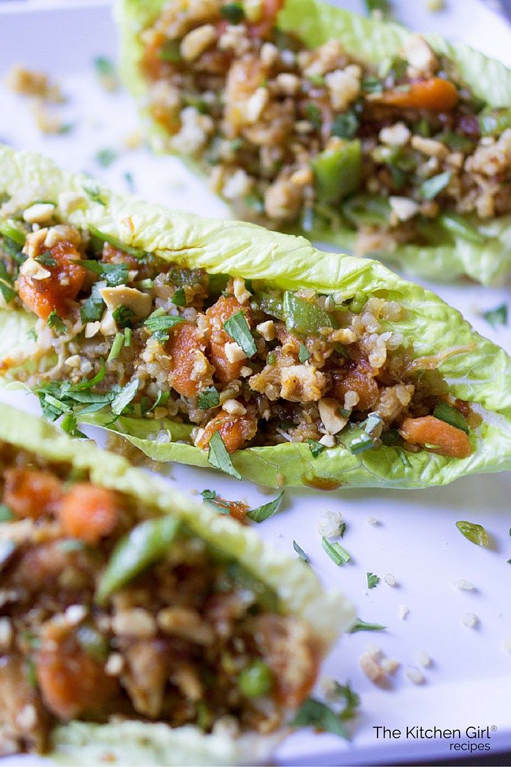 Rotisserie Chicken Teriyaki Lettuce Cups - uses lots of veggies and reduced-sodium Teriyaki sauce. Add quinoa for nutrition and volume. Perfect picnic food! thekitchengirl.com