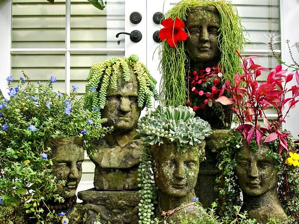 Creative and upcycled garden containers >> http://blog.diynetwork.com/maderemade/2014/03/14/37-upcycled-container-garden-ideas/?soc=pinterestGardens Ideas, Head Planters, Succulent Plants, Gardens Planters, Gardens Art, Families, Hair, Flower, Yards