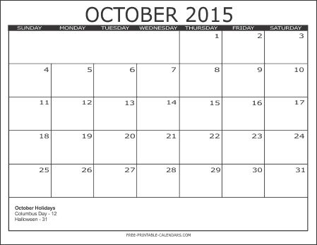 57 best October 2015 Calendar images on Pinterest | 2015 calendar ...