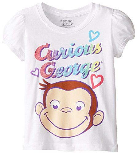 Curious George Girls Puff Sleeve Toddler T-shirt, White