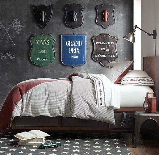 <3, Striped Racing Flag Bedding, #restorationhardwarebabyandchild