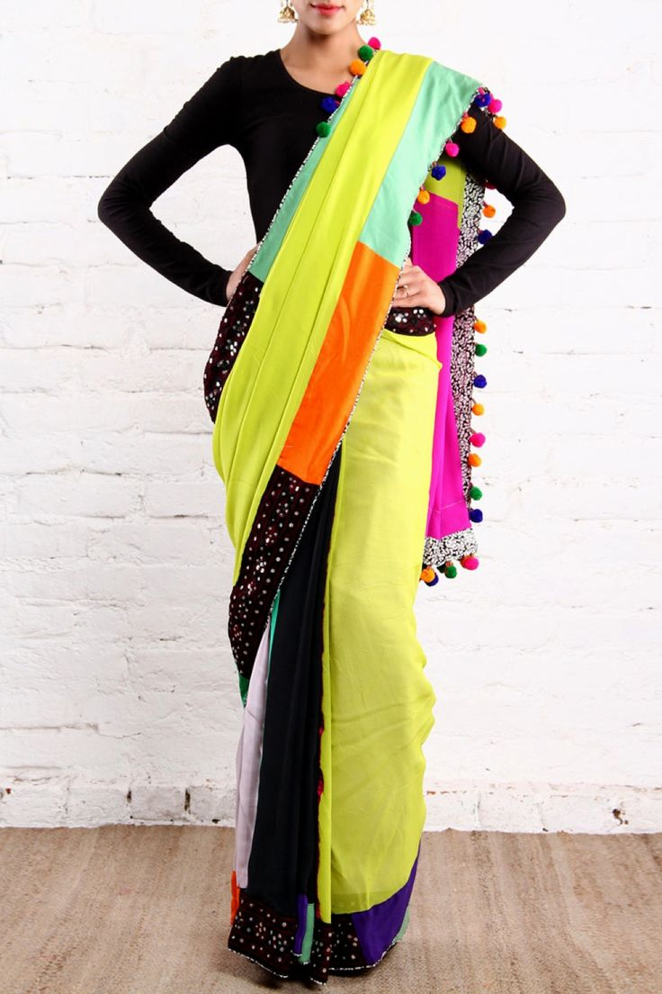 Neon Patchwork #Saree By Closet Rani Pink.