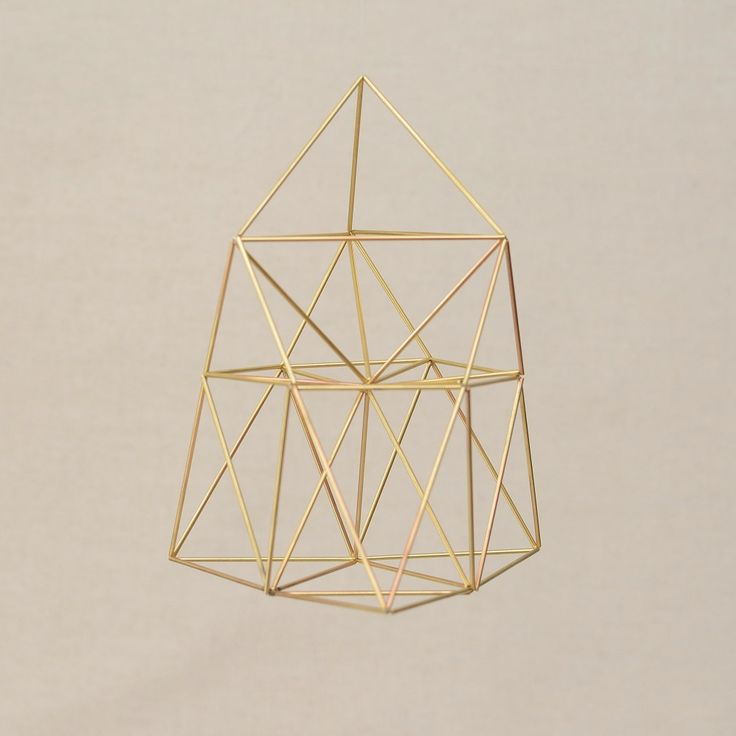 HEART BELL Himmeli Hanging Mobile Brass Home Decor, 3D Chestahedron by Frank Chester