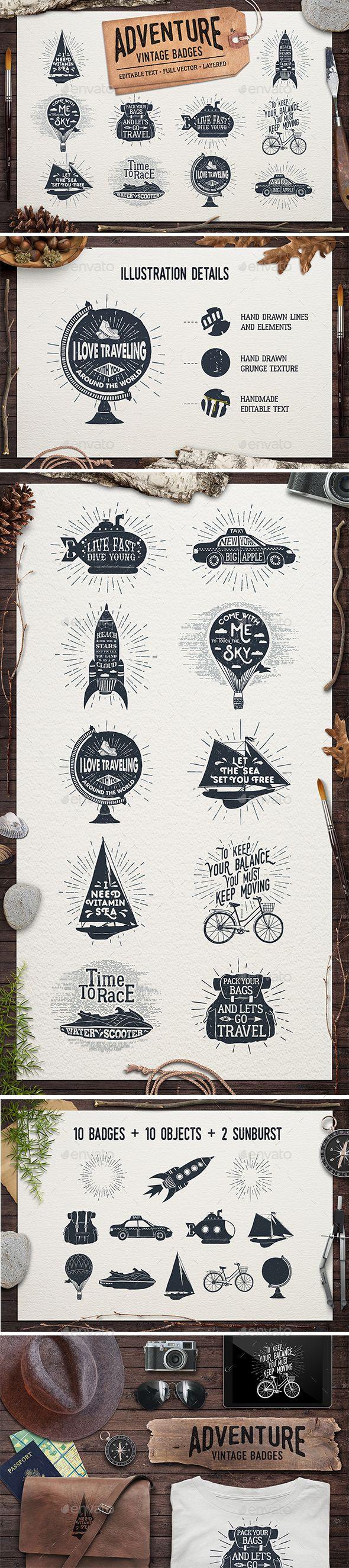 Adventure Vintage Badges Templates Transparent PNG, Vector EPS, AI Illustrator. Download here: http://graphicriver.net/item/adventure-vintage-badges-part-2/16730336?ref=ksioks