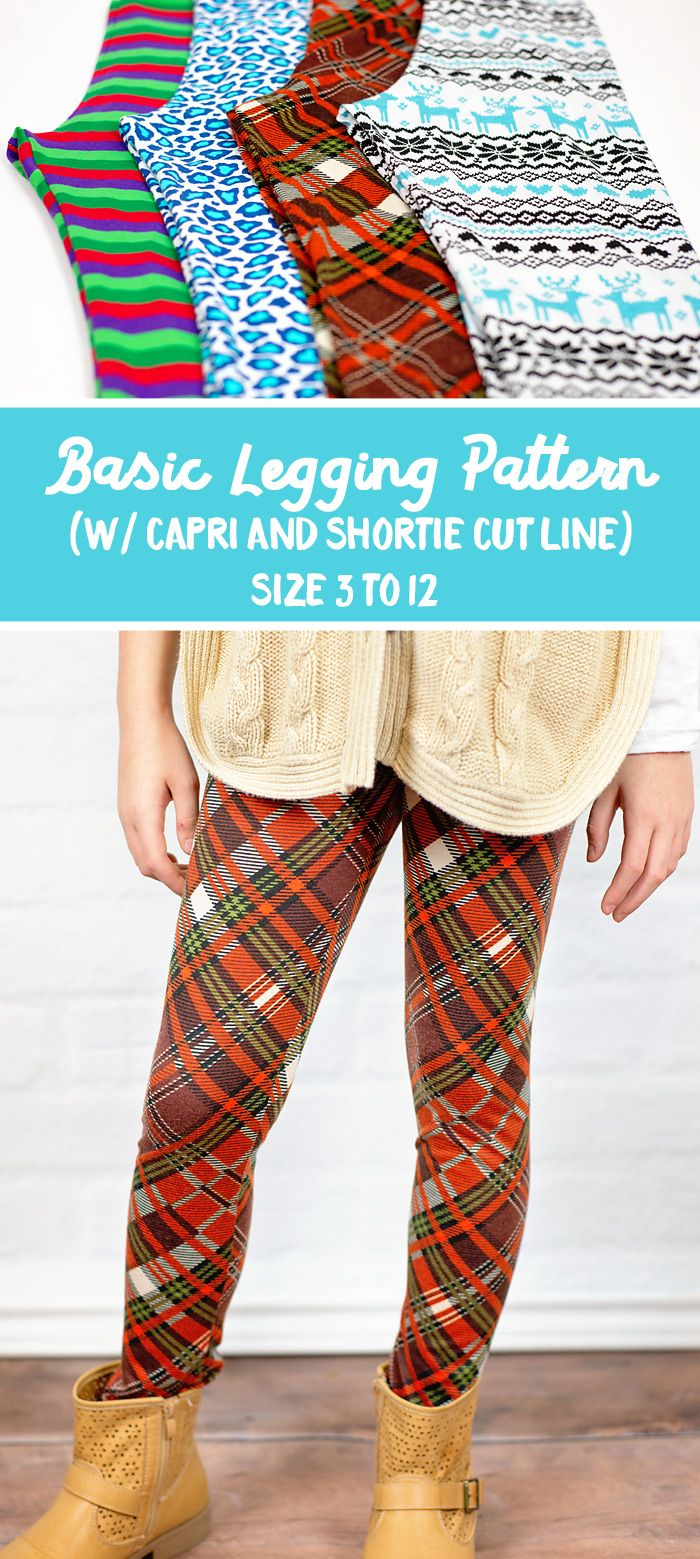 Free Legging Sewing pattern. For girls, size 3 to 12 (includes capri and shortie pattern)