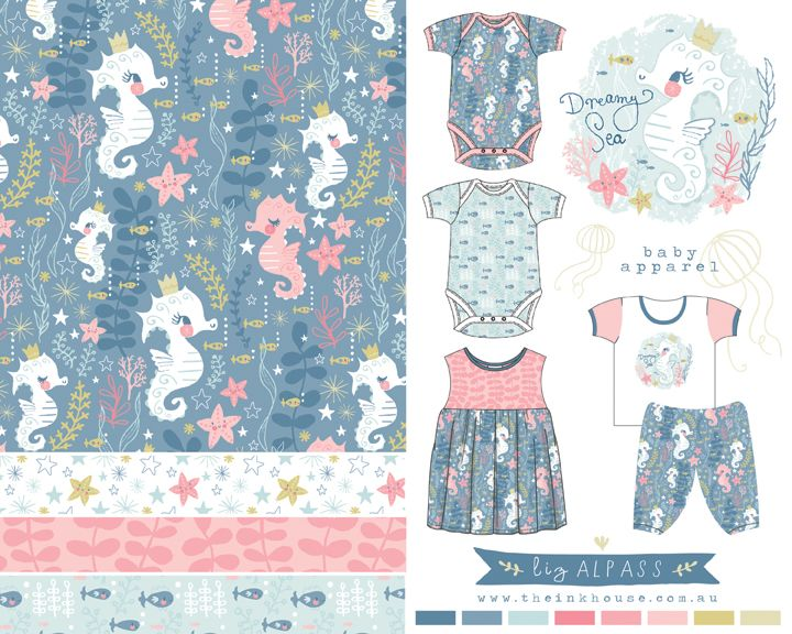 Liz Alpass | The Ink House Baby + Children's Apparel Illustration + Design  seahorse • under the sea