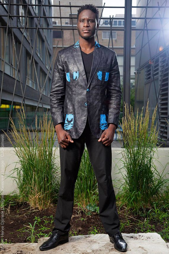KWESIYA Men Shirt-Blazer, Black African Inspired Blazer- African Bazin and Wax, Ankara, African prints