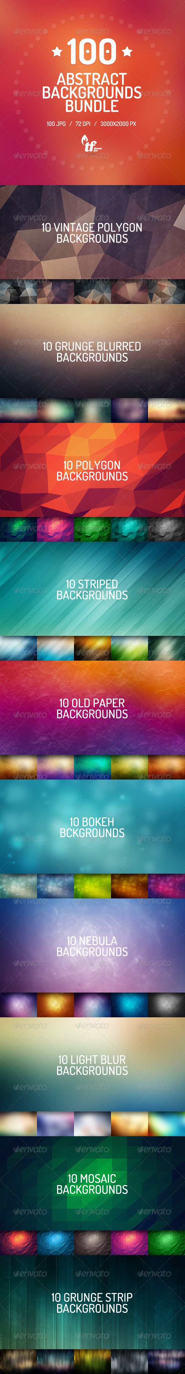 100 Abstract Backgrounds Bundle ...  abstract, background, blur, blur background, blurred, blurred background, bokeh, bokeh background, bright, bundle, geometric, geometric background, grunge, grunge background, nebula, nebula background, old, old background, old paper, paper, paper background, polygon, polygon background, space, stripped