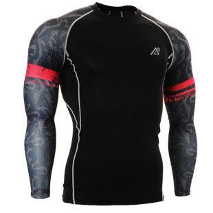 Muscle4Muscle.com showcases this Fantastically and Uniquely Designed 3D Print Long Sleeve Compression Top that is infused with the sleekest and sexiest color pattern sleeve decoratively painted. The t