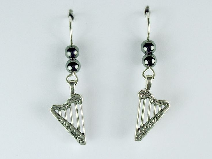 Sterling Silver Harp dangle earrings-music, Harps, Celtic, instrument, harpist