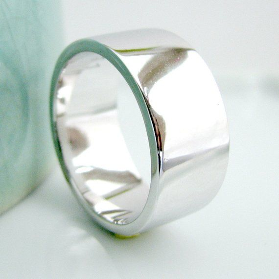925 Sterling Silver Womens Mens 8mm Flat Wedding Band Ring  All Sizes