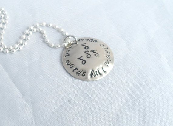 HAND STAMPED JEWELRY When Words Fail Music by AGlassofHarmony, $10.00