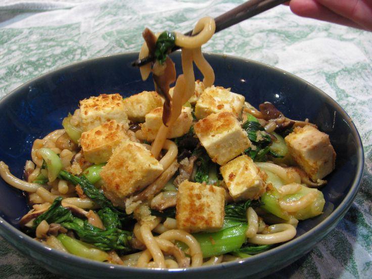 ... Udon Noodles, Bok Choy and Mushrooms | Crispy Tofu, Udon Noodles and