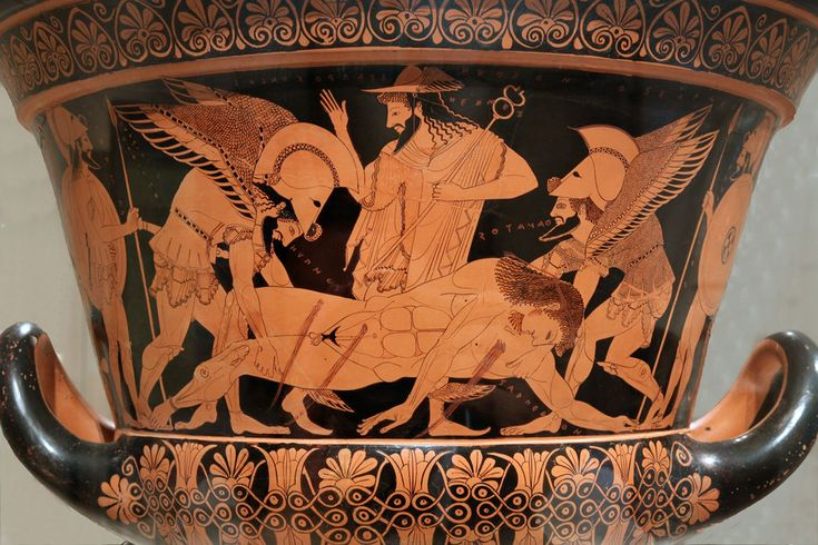 The death of Sarpedon, depicted on the obverse of the Euphronios krater, c.515 BCE.