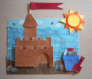 """Sandcastle Scene - flag reads """"Rejoice in the Lord alway: and again I say, Rejoice."""" Philippians 4:4"""