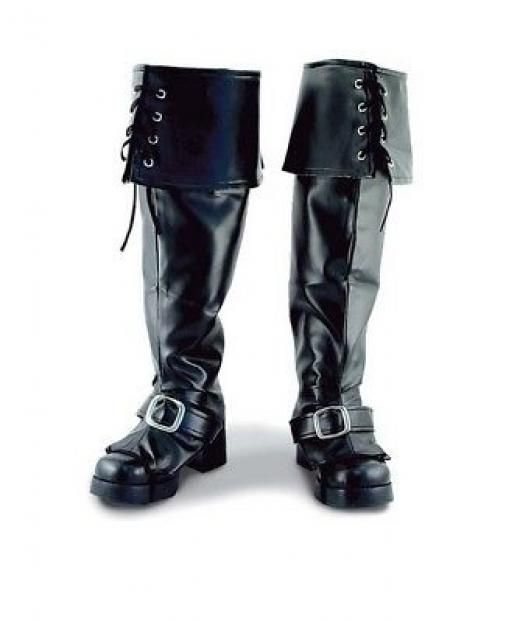 Funny Fashion Dlx Black Pirate Medieval Boot Tops Shoe Covers Costume Accessory Footwear Child Pirates Unisex Kids 6 Halloween Colonial Or Santa Claus 18 Inches Long When Flat