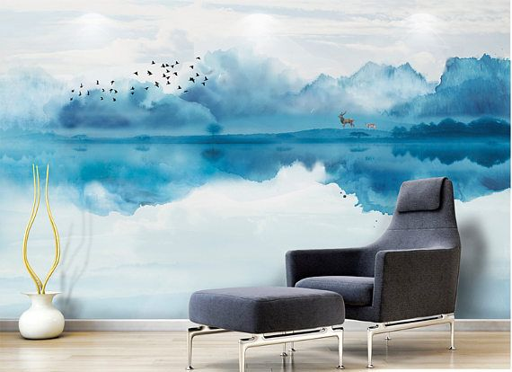 C10201807145 Watercolor Blue Misty Mountain Wallpaper Chinoiserie