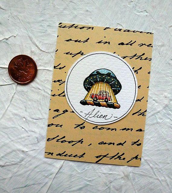 UFO Watercolor Painting Original Miniature Drawlloween Art