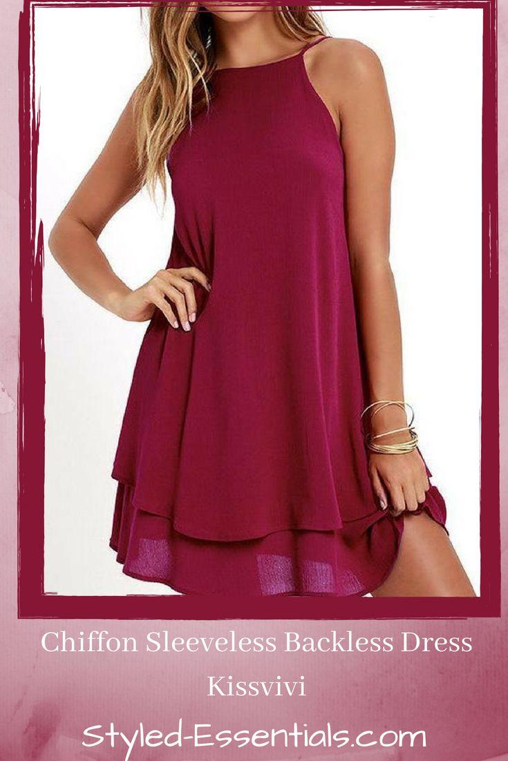 Chiffon sleeveless backless dress kissvivi afflink beautiful
