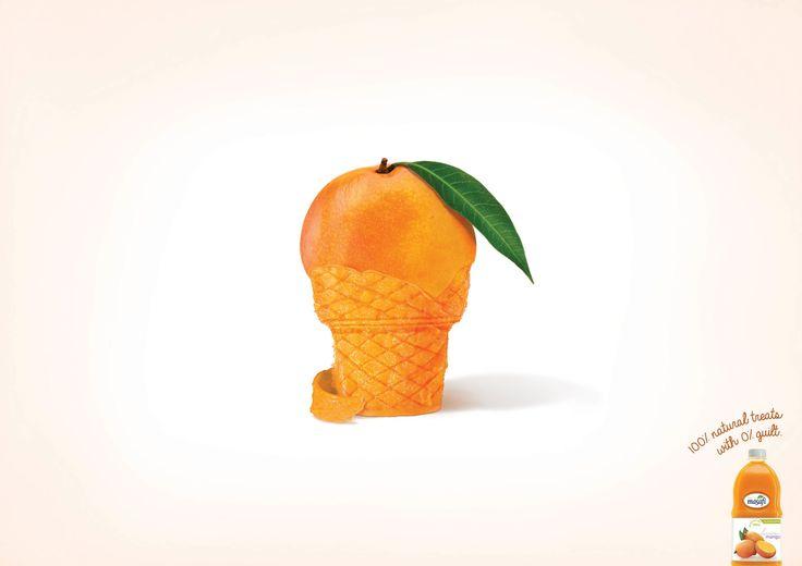 """「果汁100%ジュースは、罪悪感0%ジュースだ。」目にも美味しいジュースのプリント広告。アラブ首長国連邦のドバイで制作されたシリーズプリント広告をご紹介。  Masafiは、もともとミネラルウォーターで有名なUAEの企業。現在では、ジュースやポテトチップスなどの食品も作っています。  同ブランドが、「おやつ」というコンセプトで制作した、フルーツジュースのプリント広告がこちら。 コピーは共通で、""""100% natural treats with 0% guilt.(100%ナチュラルなおやつを。悪いものは0%です)""""。  「100%ジュースをおやつに召し上がれ!」というメッセージをおやつの象徴でもある、カップケーキ等をつかって表現。フルーツの皮を剥かれた部分がそれぞれお菓子の形になっています。  「単にキャンディ等のおやつを食べると感じる罪悪感も、フルーツジュースなら感じることもありません」という意味で入れられた""""0% guilt""""というコピーも、おしゃれですね。インサイトフルなコピーで描かれた、目にも美味しいプリント広告"""