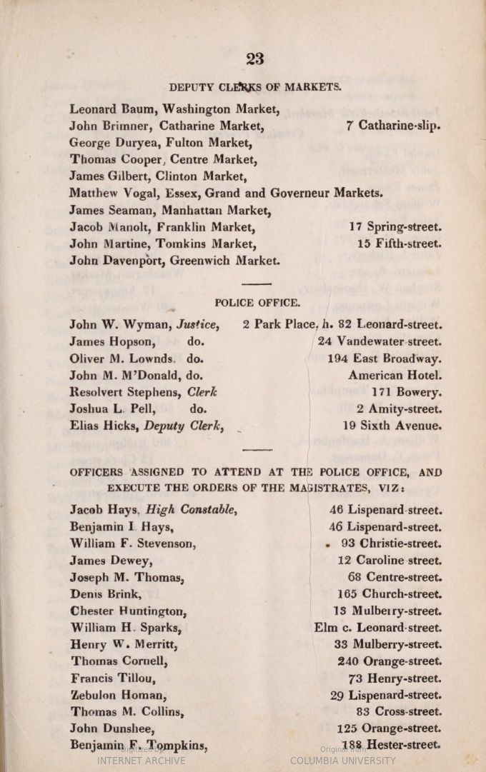1833 Police Officers Names And Place Of Abode Of The Members Of The Common 1833 New York N Y Duryea Names Officer